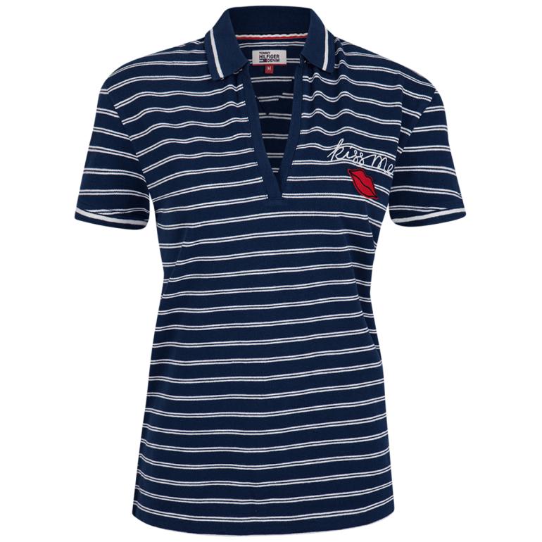 Koszulka polo damska Tommy Hilfiger XFOXF00371902 granatowo-biała