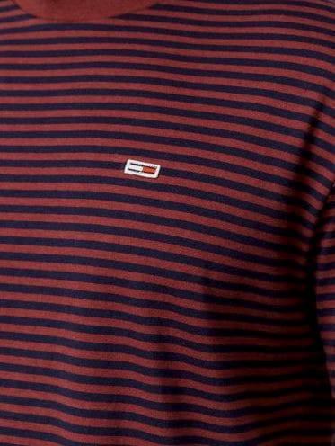 Męski T-shirt w paski Tommy Hilfiger bordowy