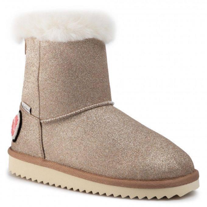 Damskie śniegowce Pepe Jeans złote Angel Glitter