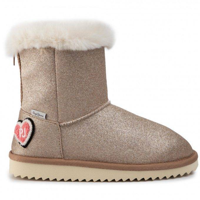 Damskie śniegowce Pepe Jeans złote Angel Glitter PGS50150