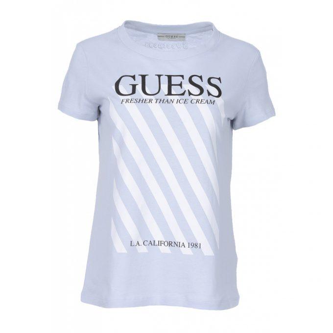 Damski T-shirt GUESS Błękitny W0GI57JA900 – G75S regular fit