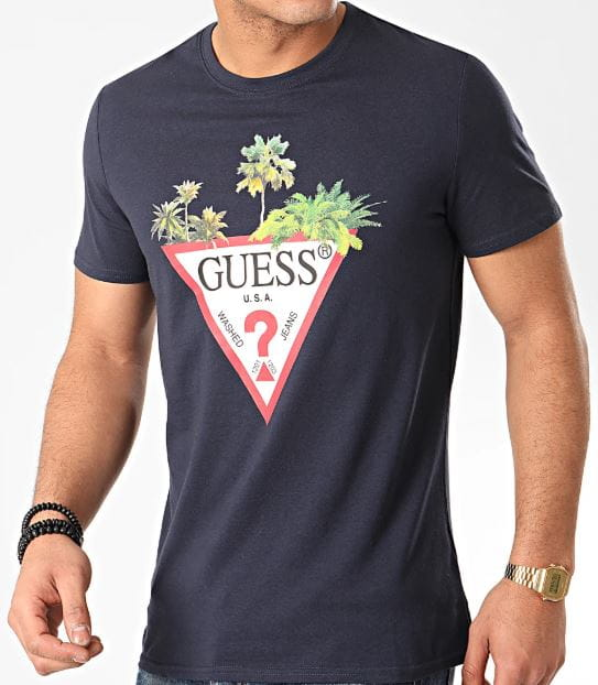 Męski T-shirt GUESS granatowa M0GI76I3ZOO G720 slim fit