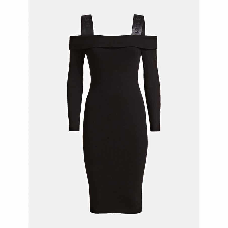 Sukienka damska GUESS KARBOWANA czarna