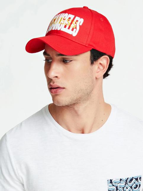 Męska czapka z daszkiem Guess czerwona