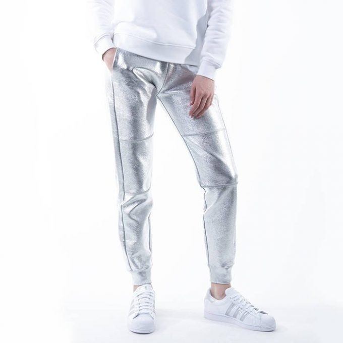 Spodnie damskieKARL LAGERFELD srebrne