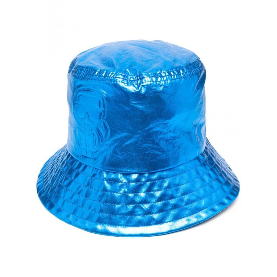 Kapelusz damski KARL LAGERFELD metaliczny niebieski